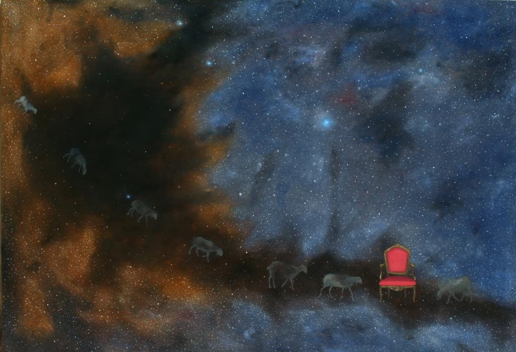 """""""L'esilio del Pantocratore"""", 2015, 90 x 130 cm, olio su tela"""
